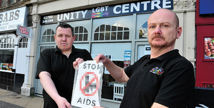 Welsh LGBT centre targeted with STOP AIDS posters